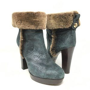 Tory Burch Ankle Boots Shoe Size 9 Green Shearling